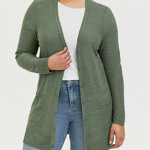 Light Olive Green Texture Slub Boyfriend Cardigan